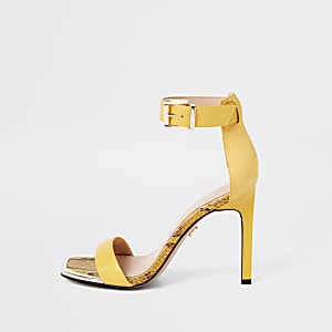 3b7a7477a60 Yellow barely there square toe sandals
