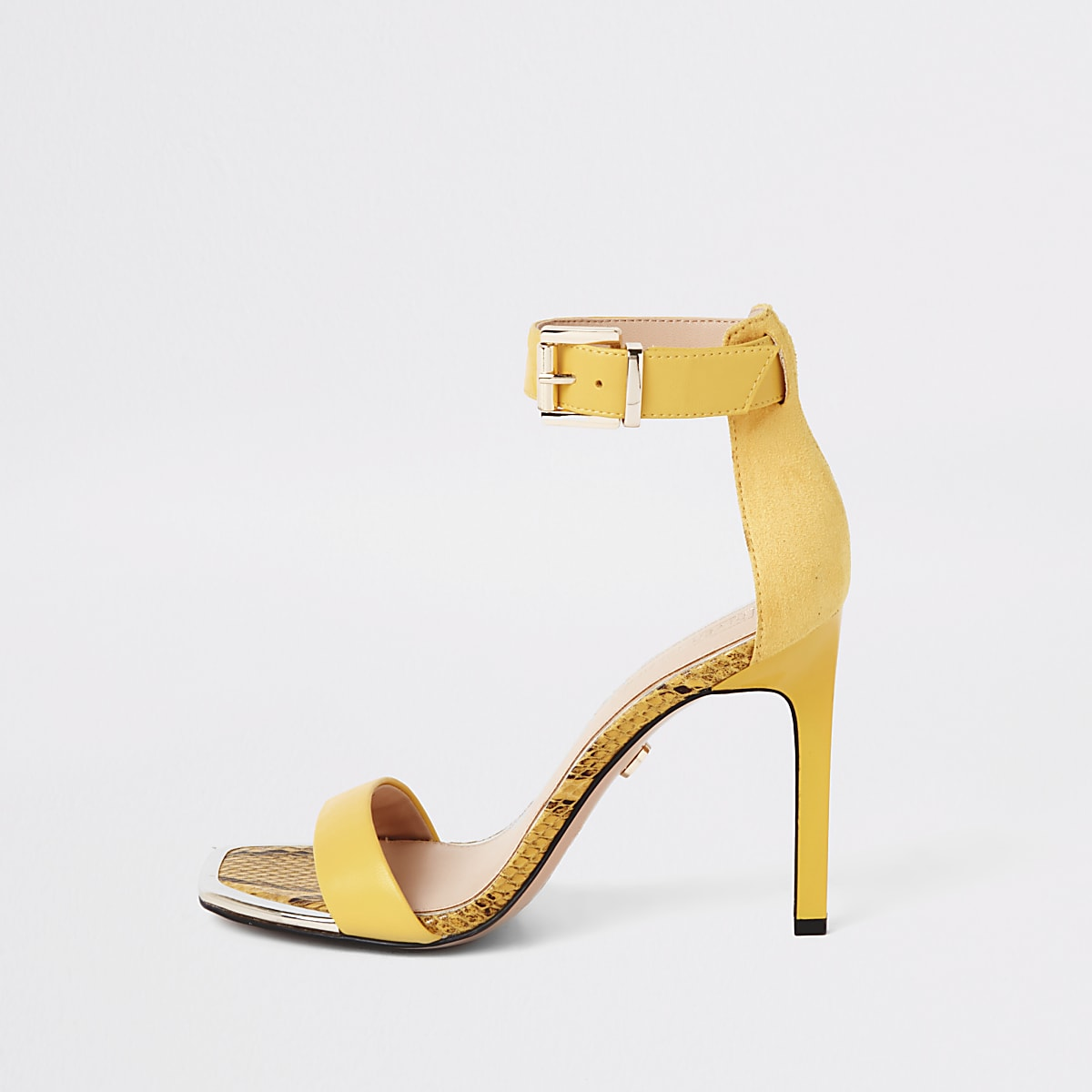 Gele minimalistische sandalen met rechte neus