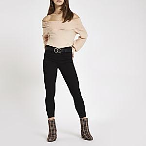 Petite light pink knit bardot jumper