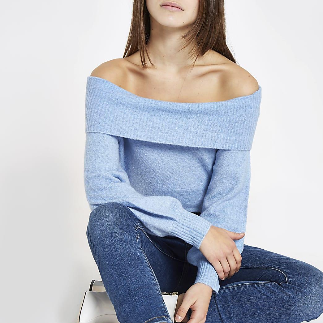 Petite light blue knit bardot jumper