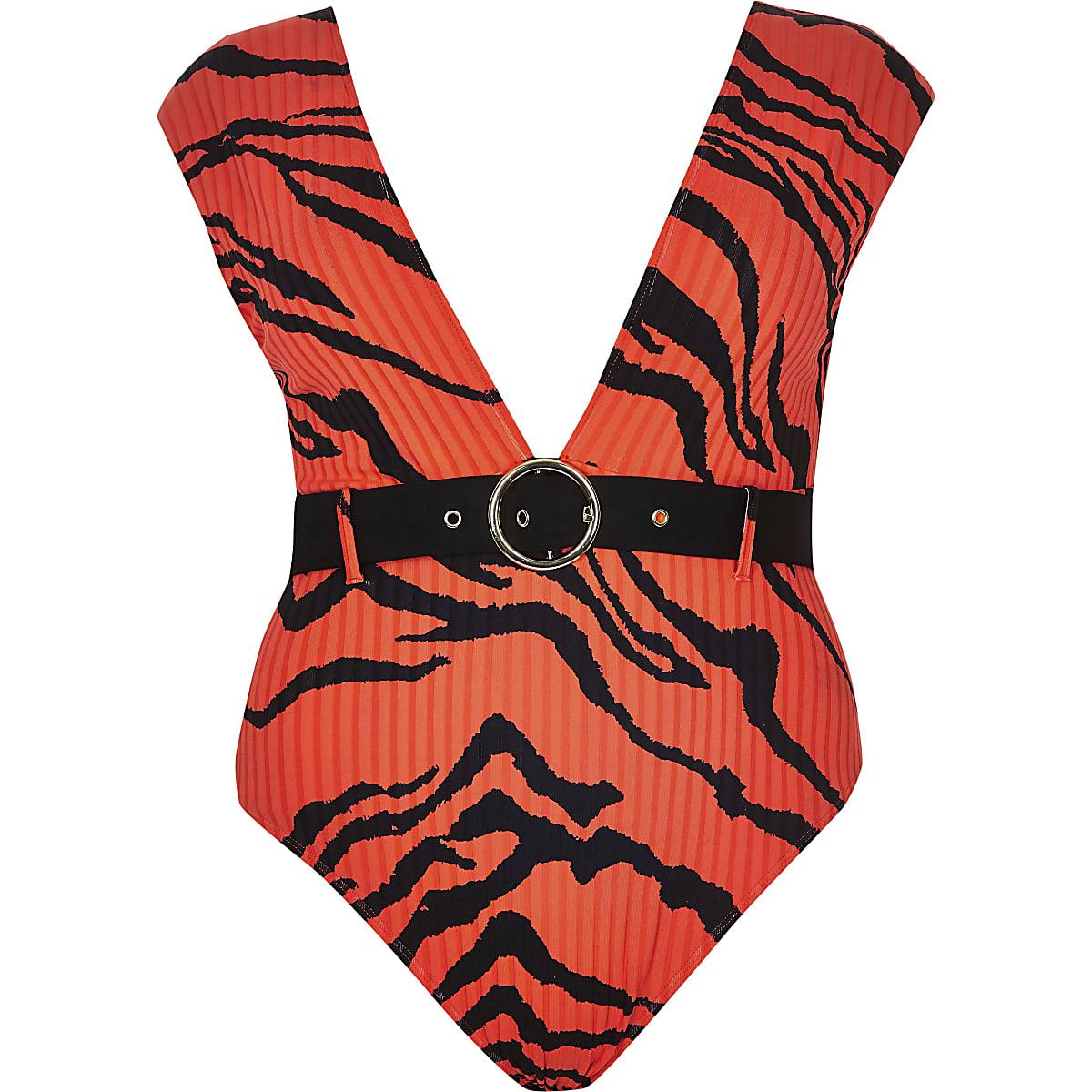 Tijgerprint Badpak.Ri Plus Rood Diep Uitgesneden Zwempak Met Tijgerprint Badpak