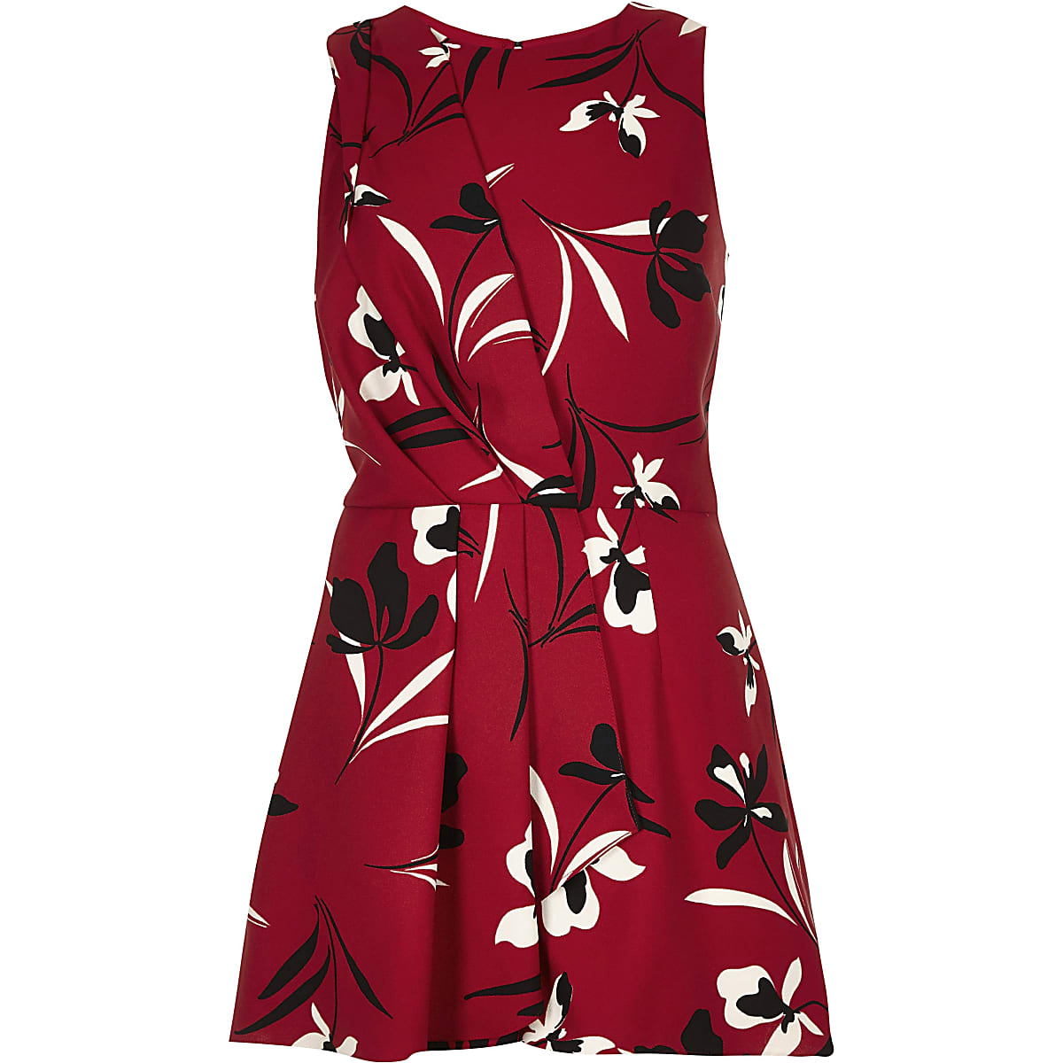 feb3e94d00 Red floral print wrap front playsuit - Playsuits - Playsuits ...