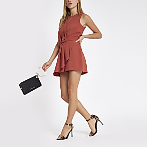 Orange wrap front sleeveless playsuit
