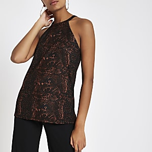 Brown snake print high neck cut away top
