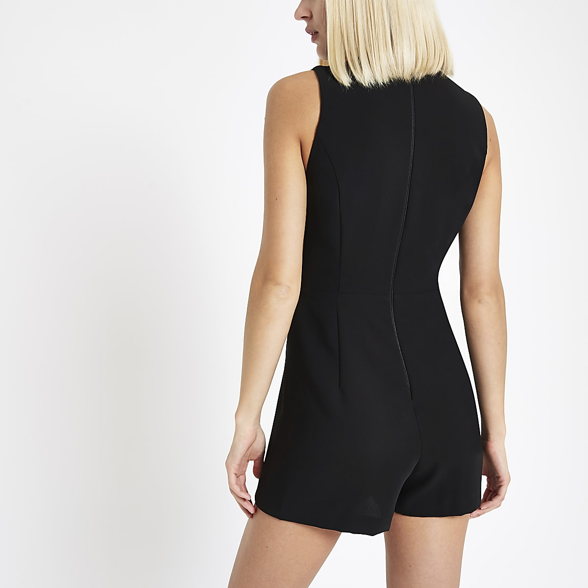 628da8bac29 Black wrap front sleeveless playsuit - Playsuits - Playsuits ...