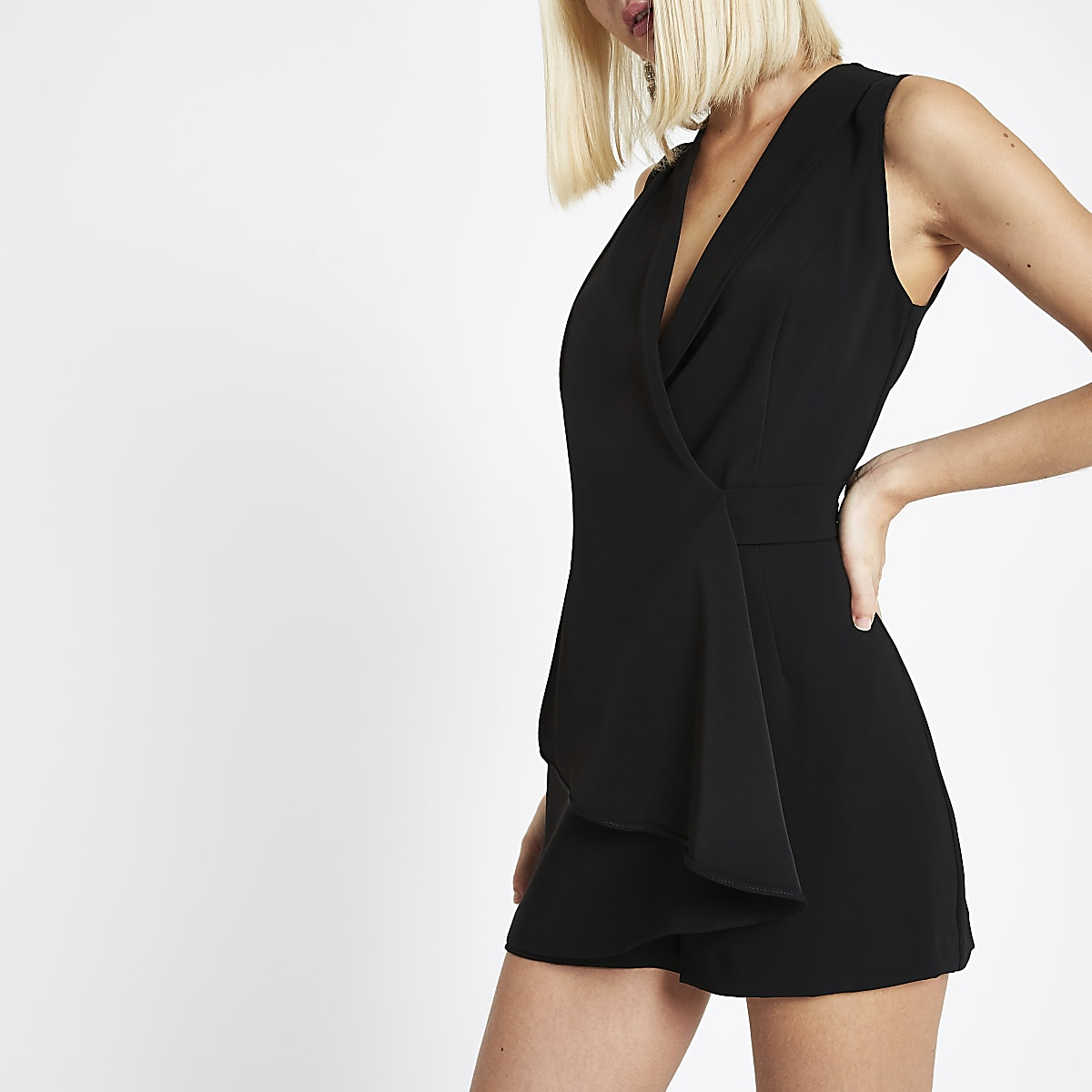 0cce704c2e3 Black wrap front sleeveless playsuit - Playsuits - Playsuits   Jumpsuits -  women