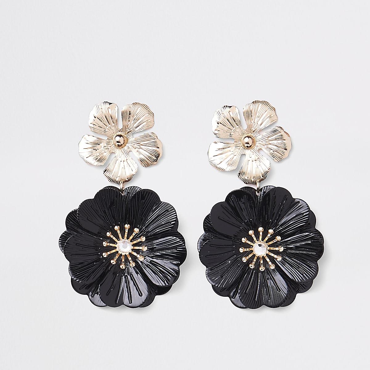 Zwarte oorhangers met dubbele bloem