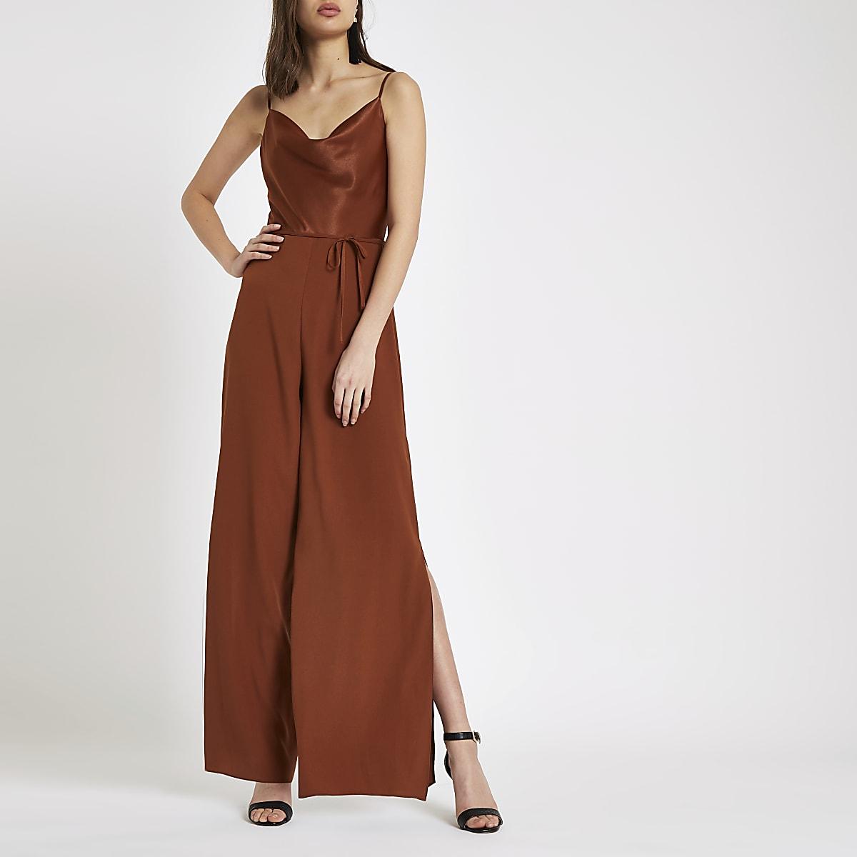 Brown cowl neck wide leg jumpsuit