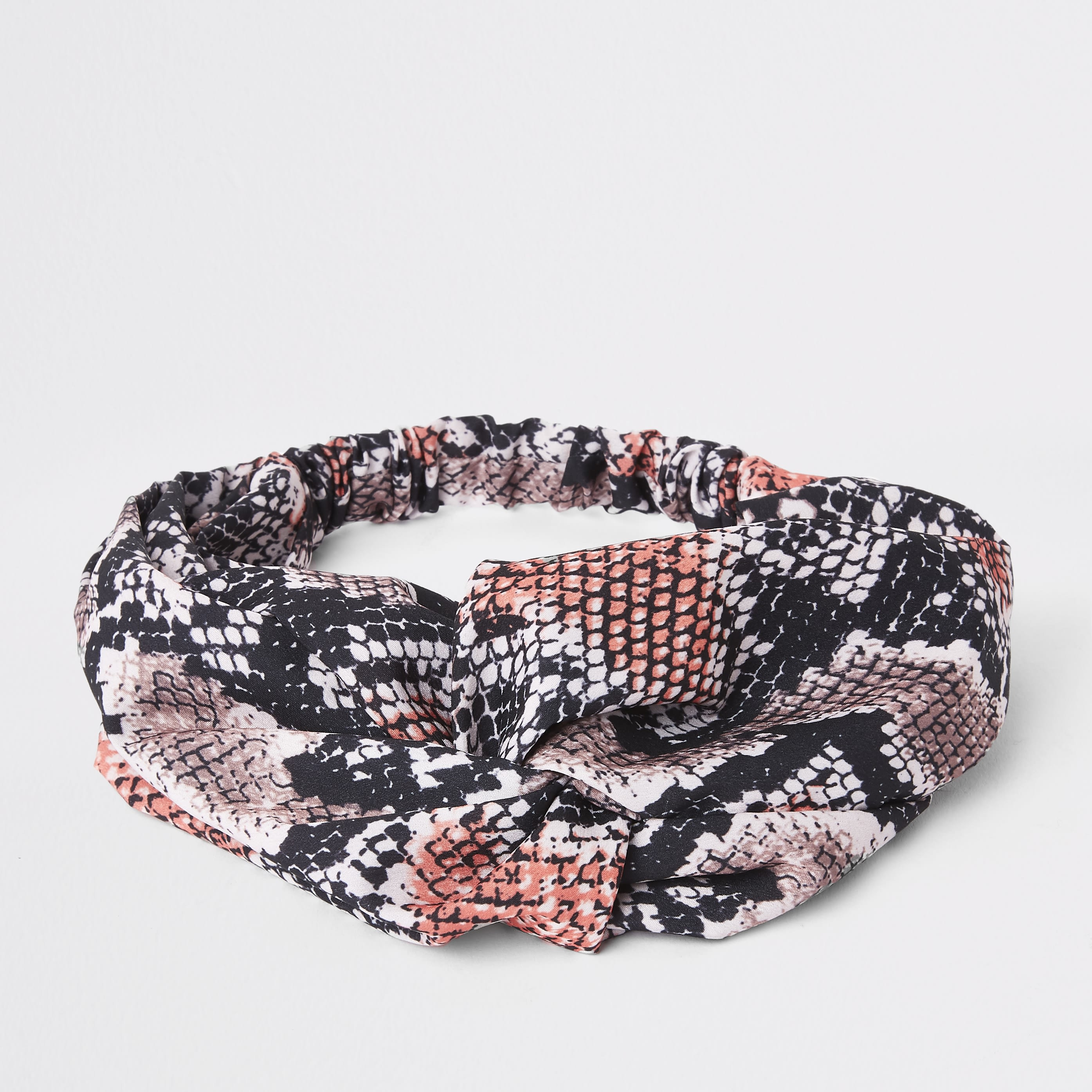 RIVER ISLAND | Womens Pink Snake Print Twist Headband | Goxip