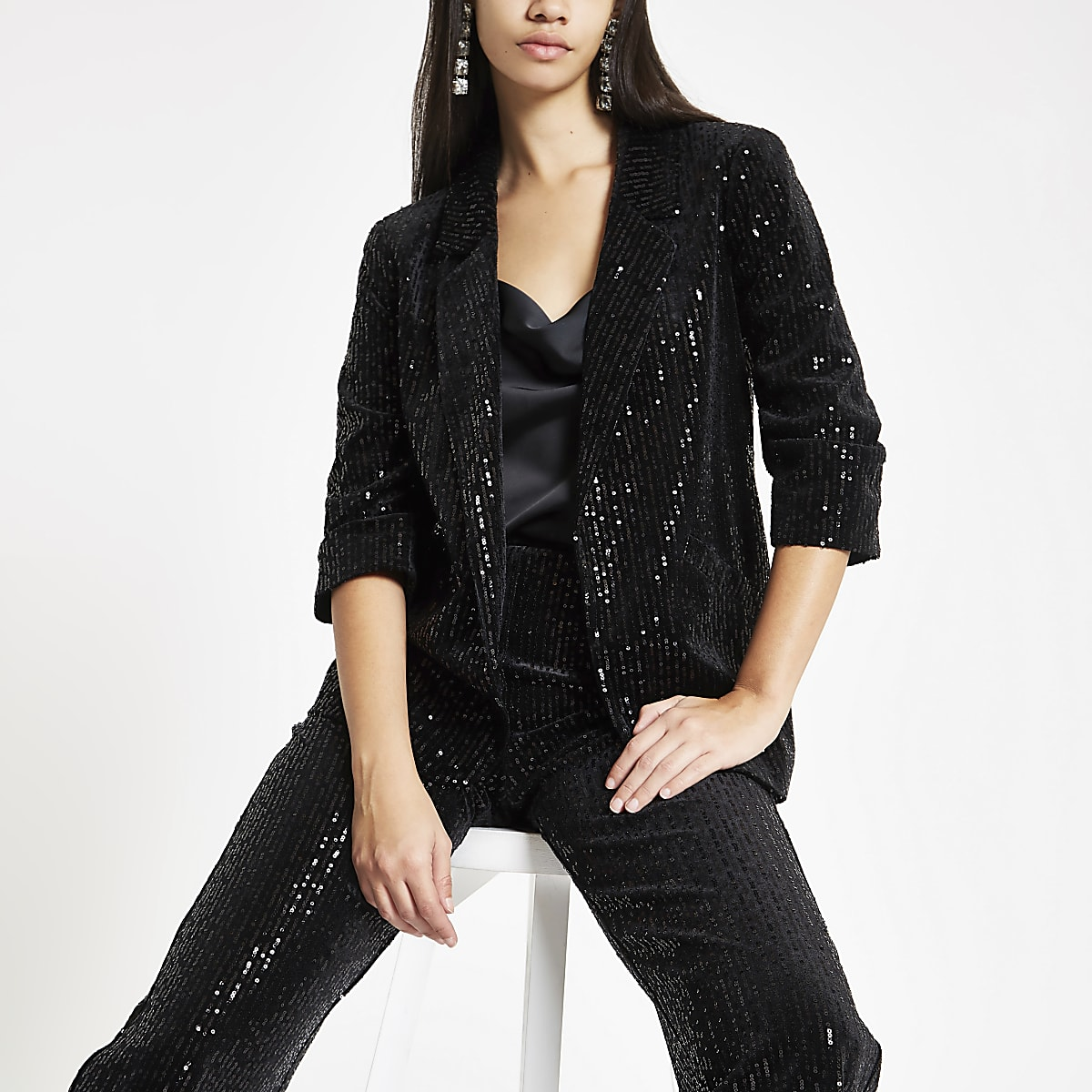 Black sequin stripe open front blazer