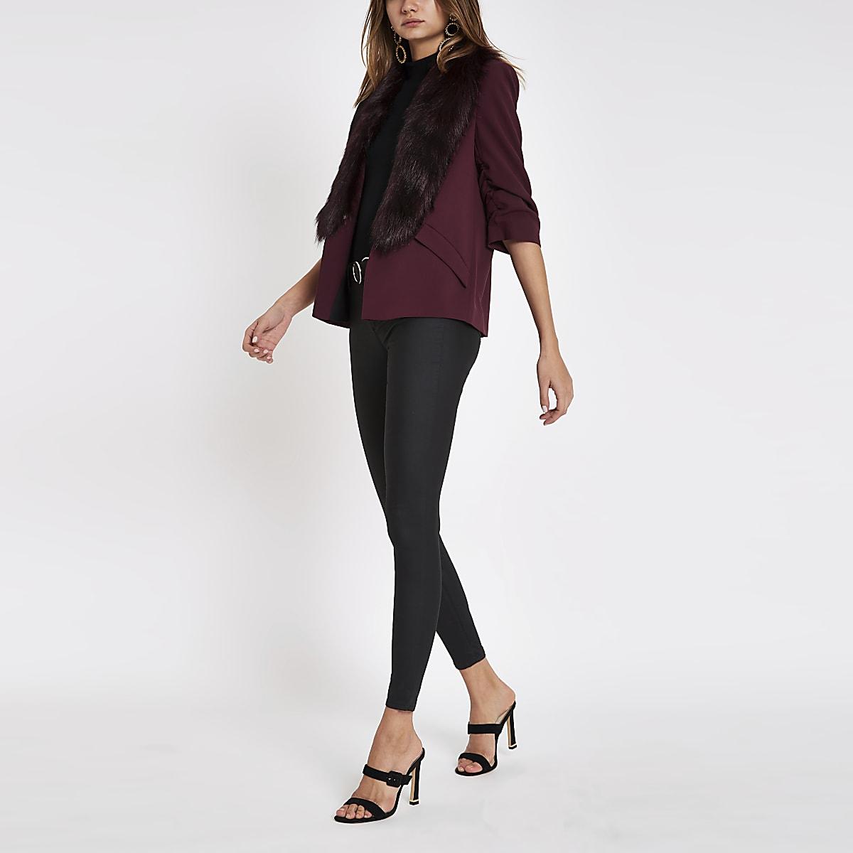Burgundy faux fur trim ruched sleeve blazer