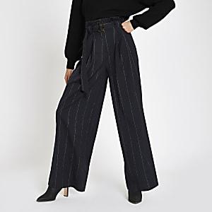 Navy stripe tie waist wide leg pants