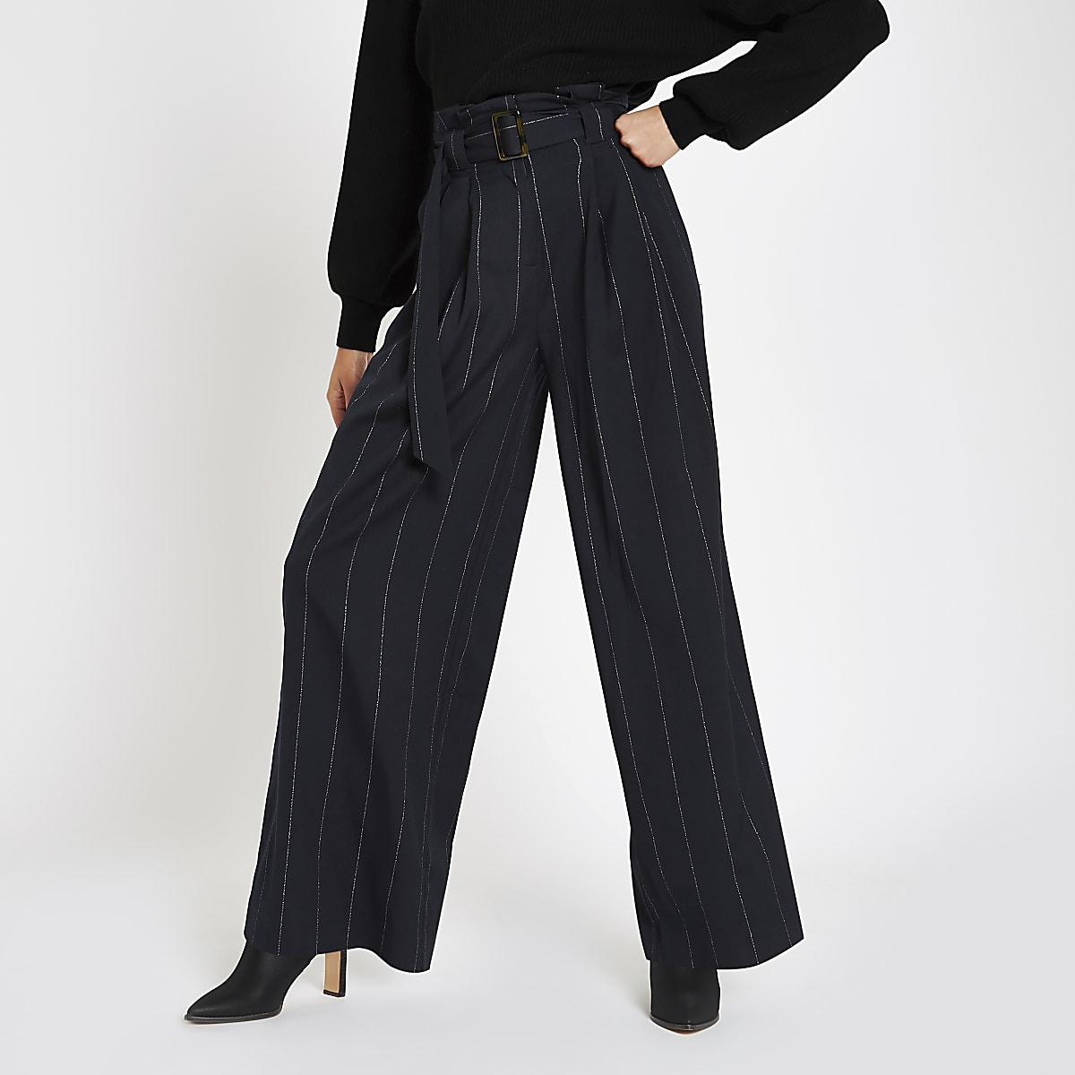 Navy stripe tie waist wide leg trousers