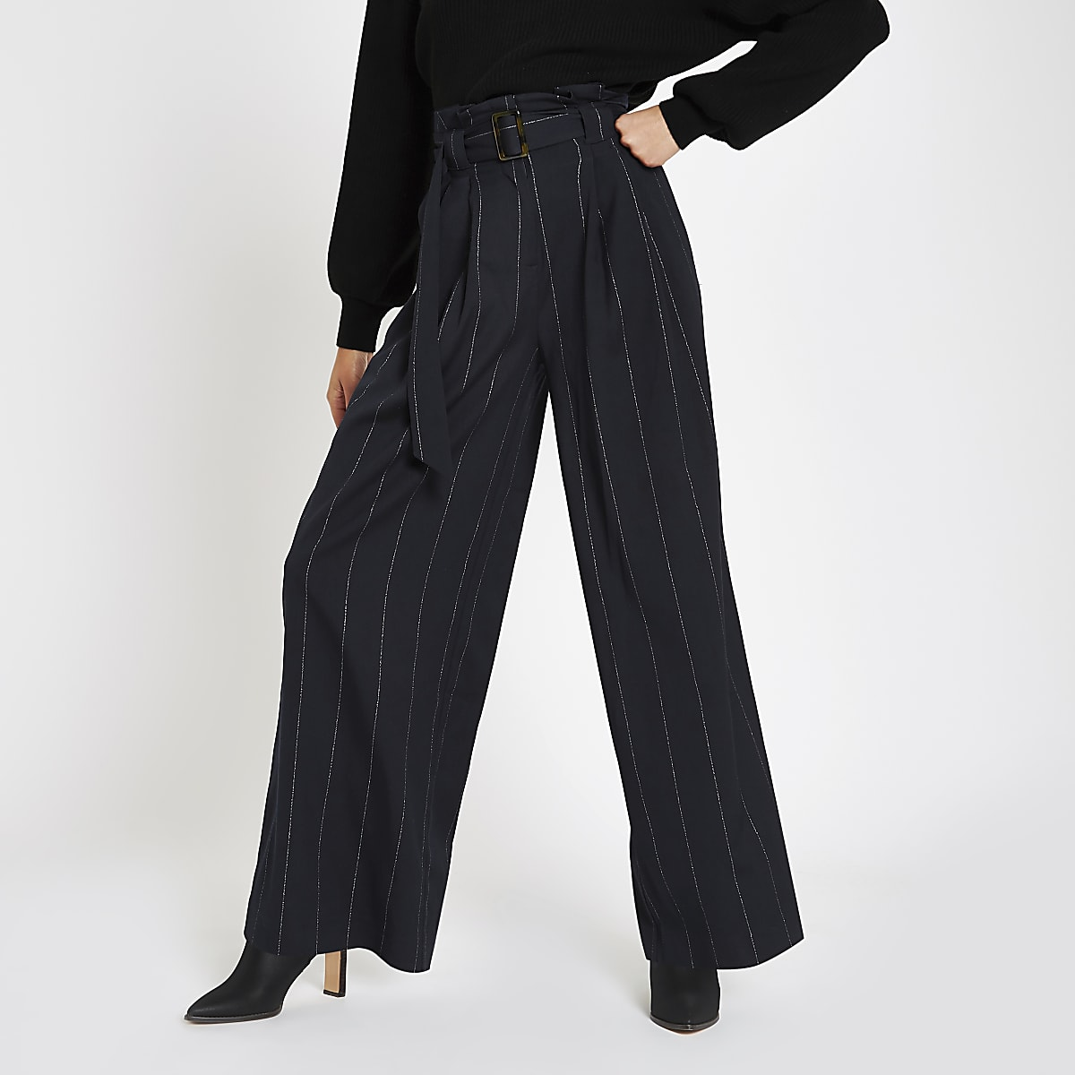 e62464dd5b Navy stripe tie waist wide leg pants - Wide Leg Pants - Pants - women