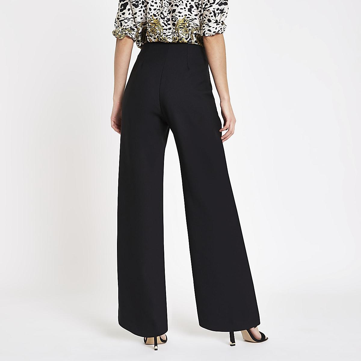 6c8829ab7de57 Black gold tone button wide leg trousers - Wide Leg Trousers ...