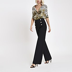 Black gold tone button wide leg pants