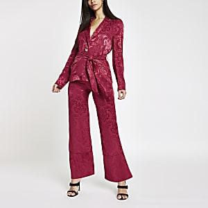 Pink jacquard wide leg trousers