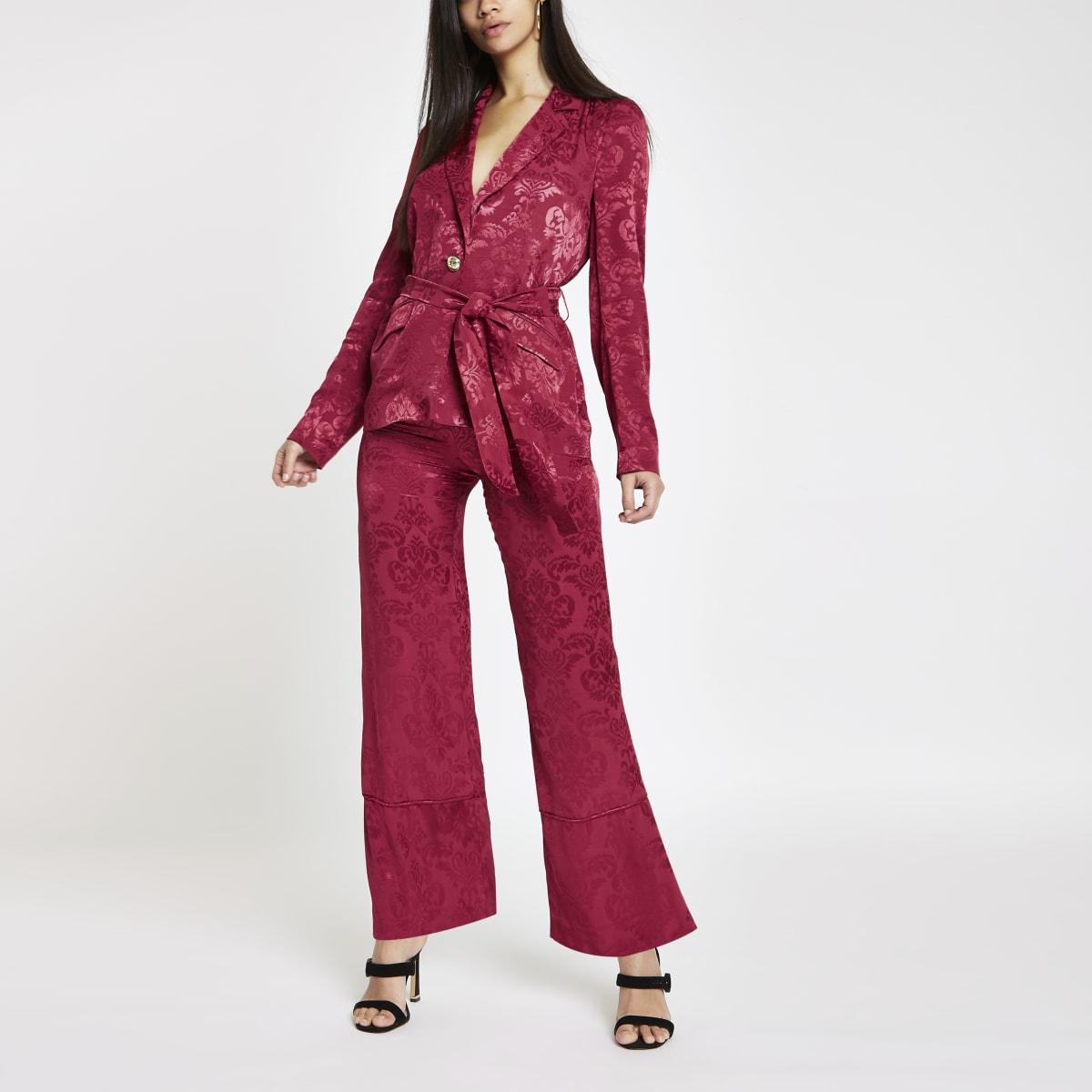 Roze jacquard broek met wijde pijpen