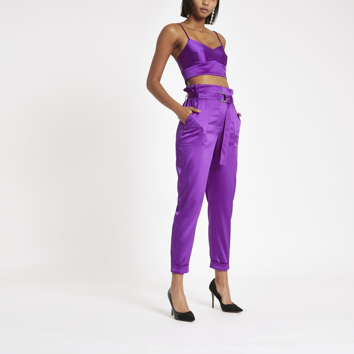 Purple satin paperbag waist pants