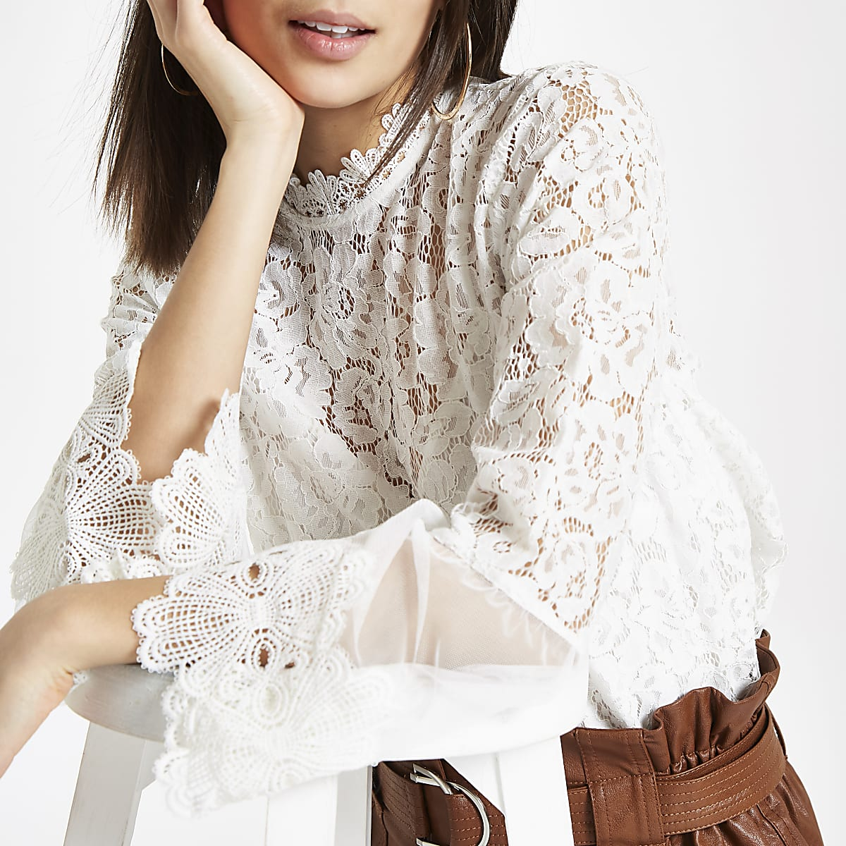 White lace high neck long sleeve top