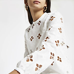 White broderie long sleeve top