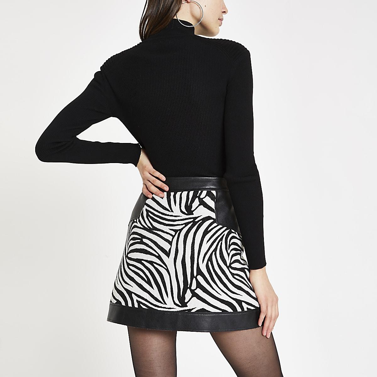 f2500383960c White jacquard mixed zebra print mini skirt - Mini Skirts - Skirts ...