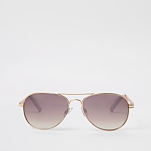 Rose gold pink lens chain aviator sunglasses