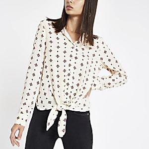 Crème blouse met tegelprint en strik voor