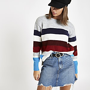 Burgundy stripe crew neck knit sweater