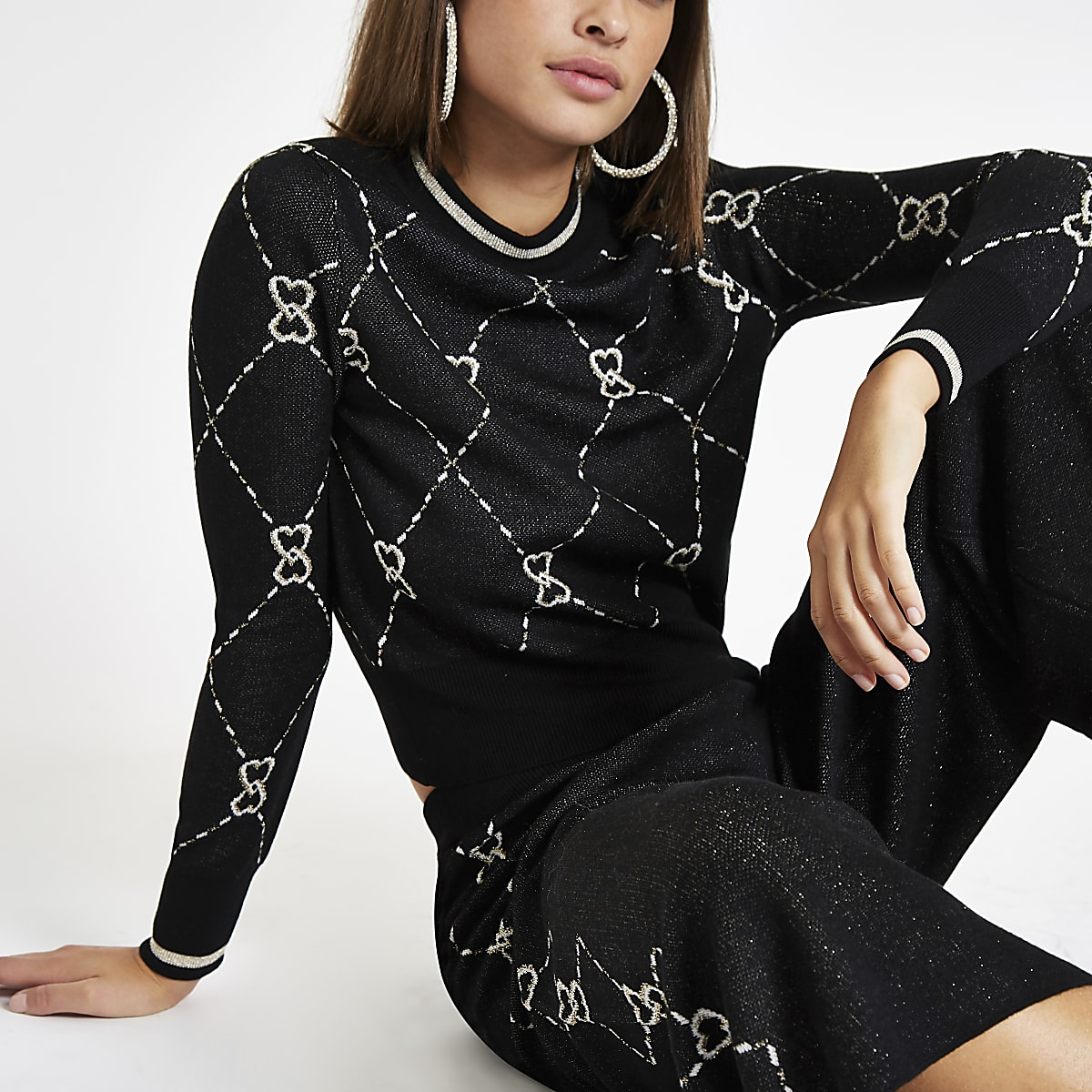 Black knit heart print metallic tipped jumper