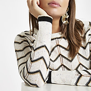 White chevron stripe crew neck sweater