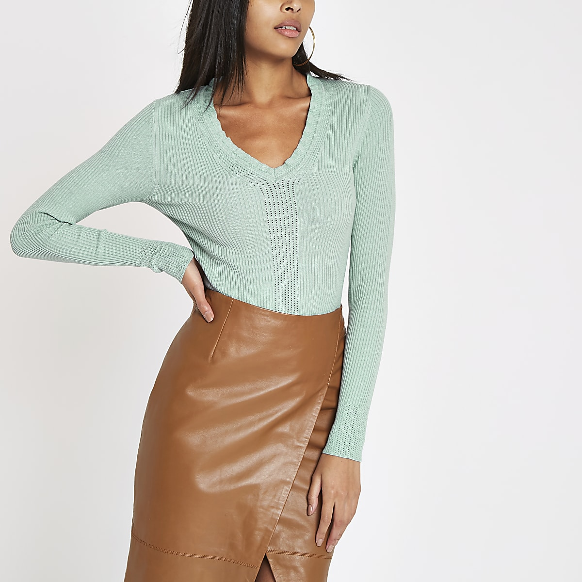 Light green ribbed knit V neck frill top