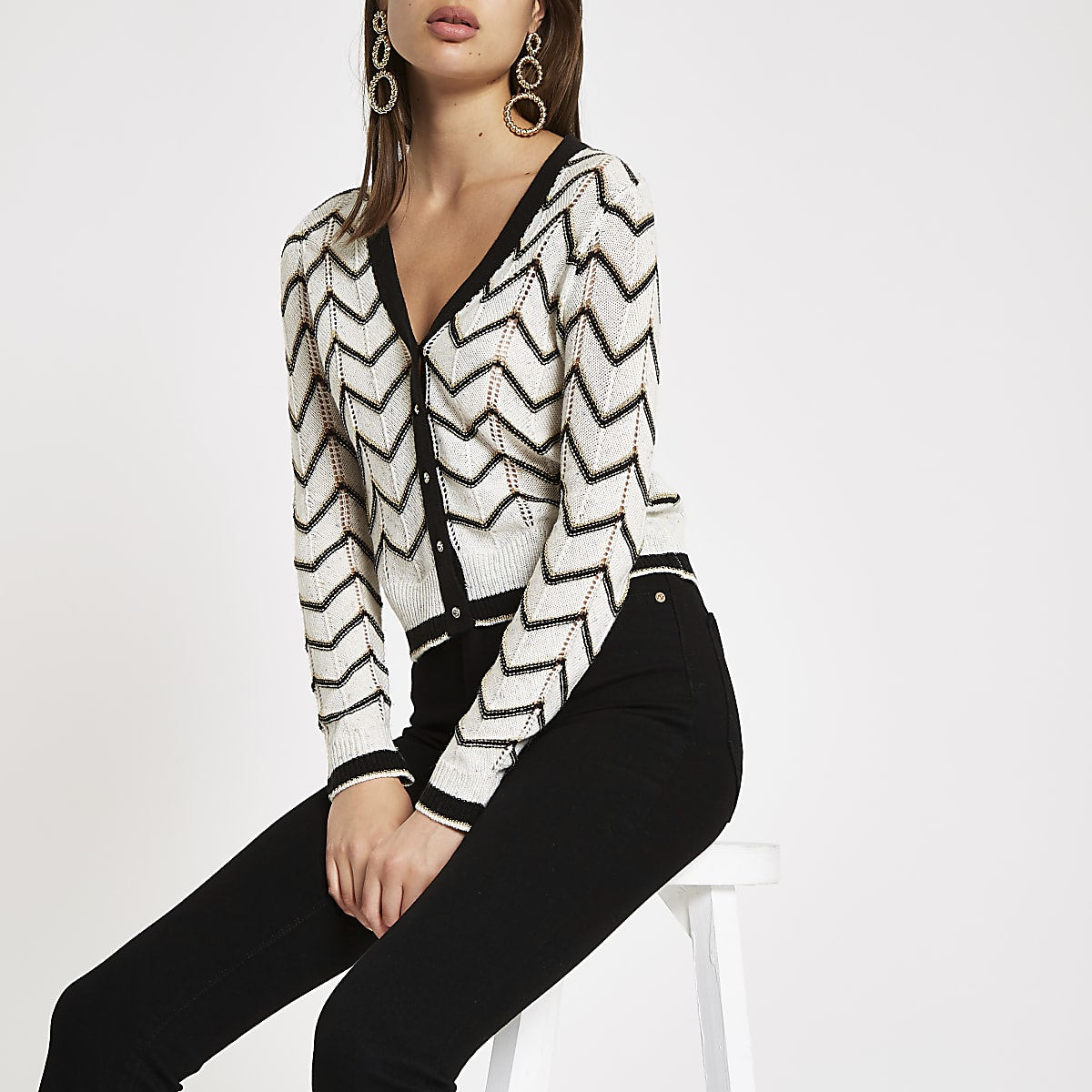 White chevron stripe V neck cardigan