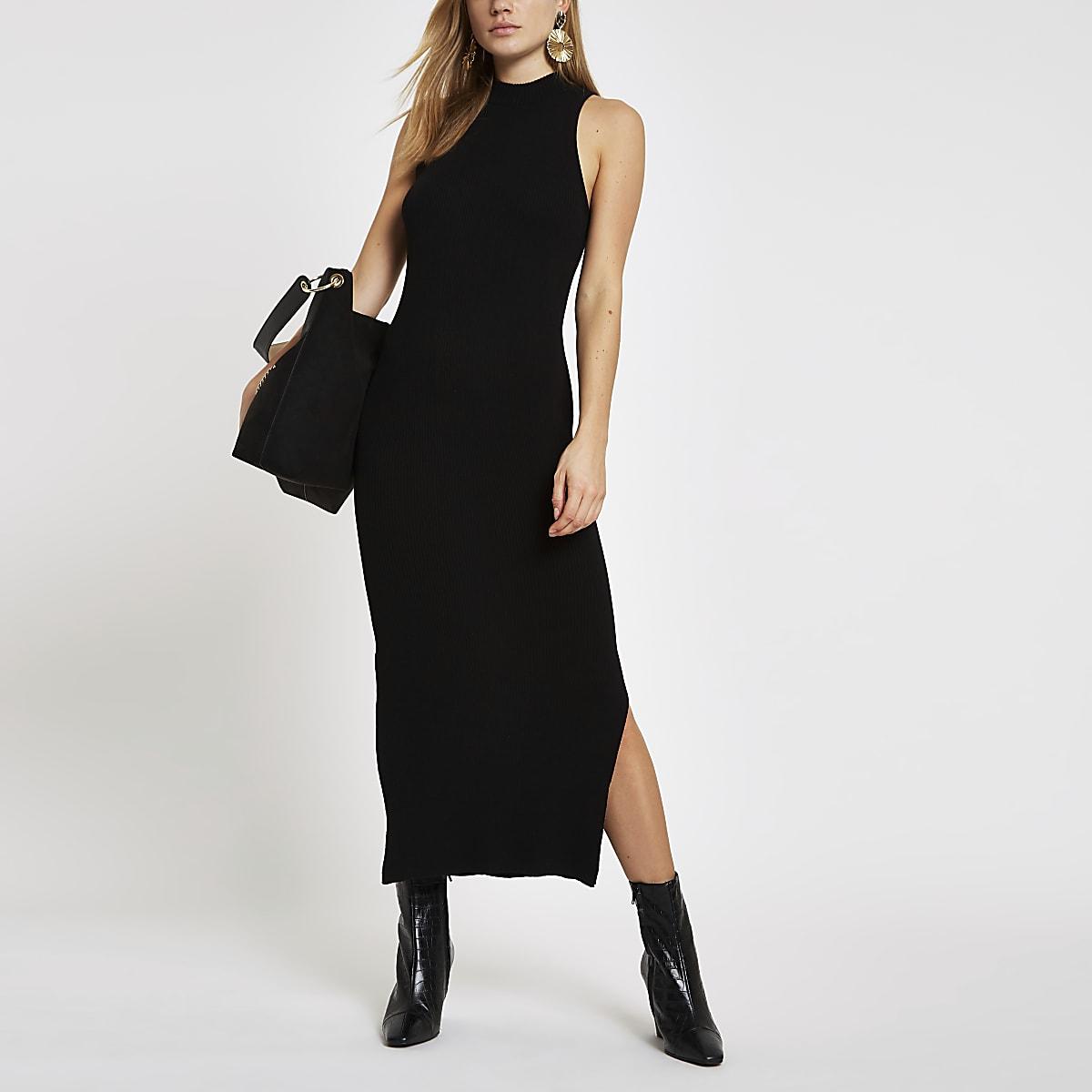 Black ribbed racer neck maxi dress