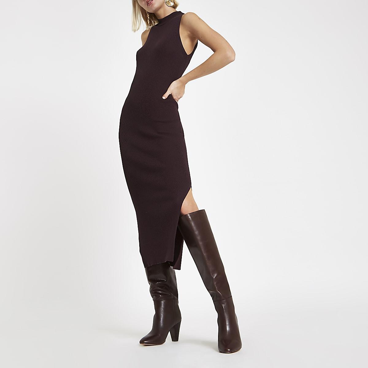 Chocoladebruine geribbelde maxi-jurk met racerhals