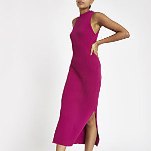 Roze geribbelde maxi-jurk met racerhals