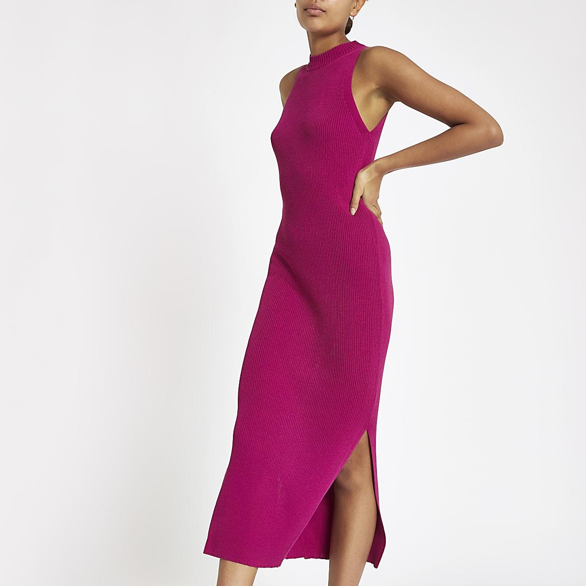 Pink ribbed racer neck maxi dress