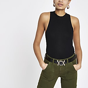 Black turtle neck cut away vest