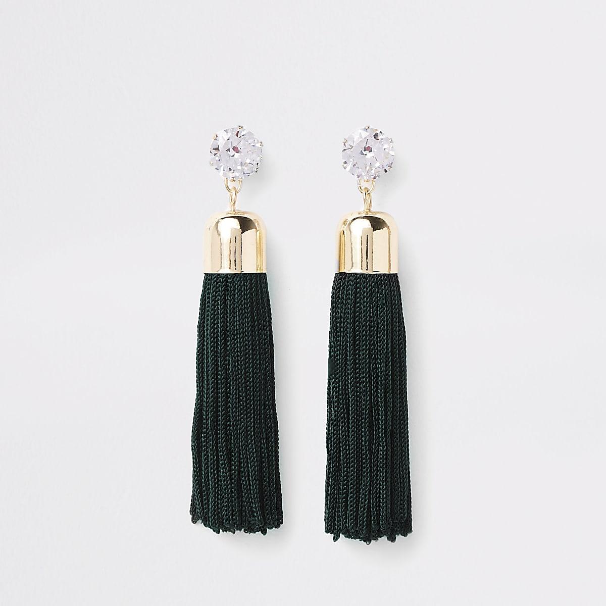 Gold tone green diamante tassel drop earrings