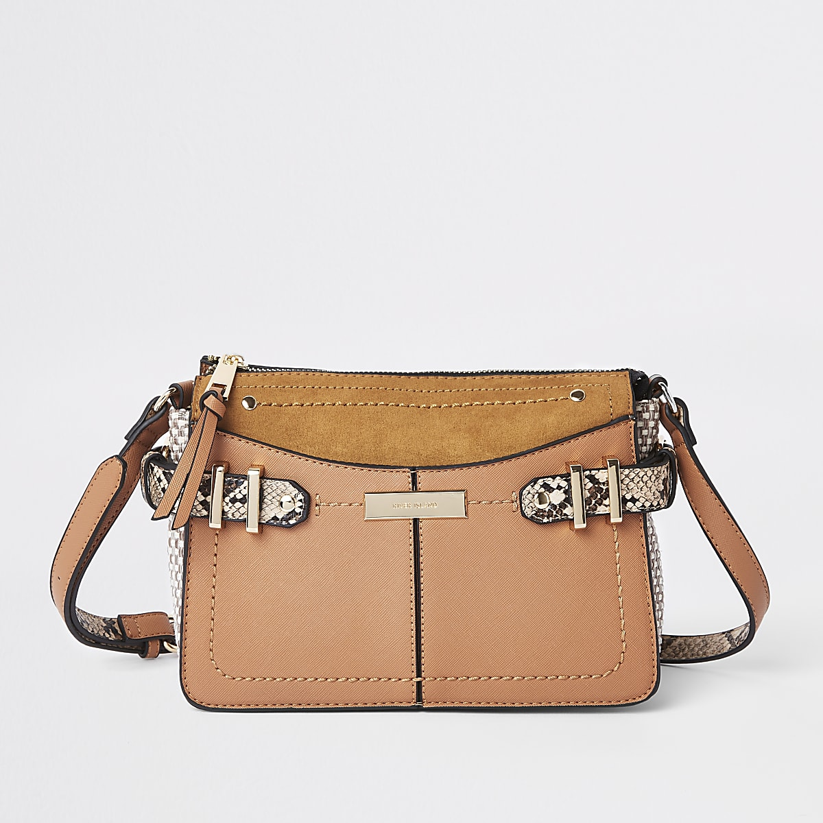 Tan snake print trim cross body bag