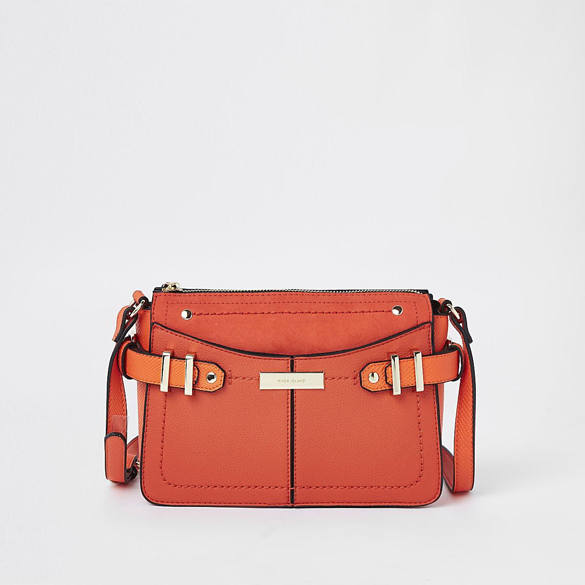 Bright red tab side cross body bag