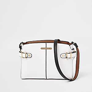 White tab side cross body bag