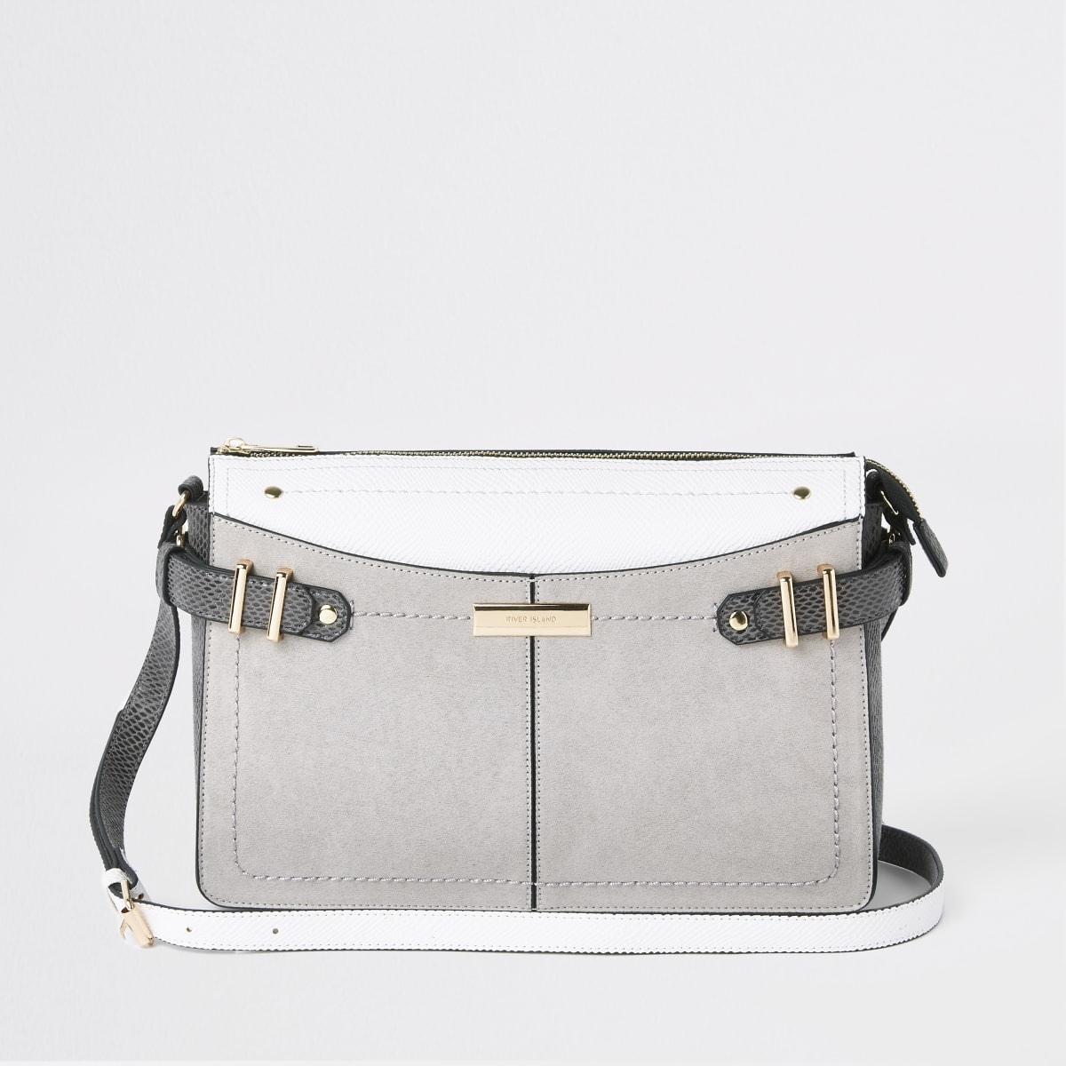 Light grey croc panel cross body bag