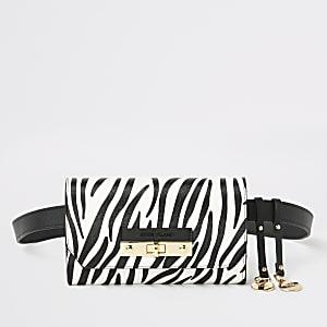 White zebra print lock front belted bum bag