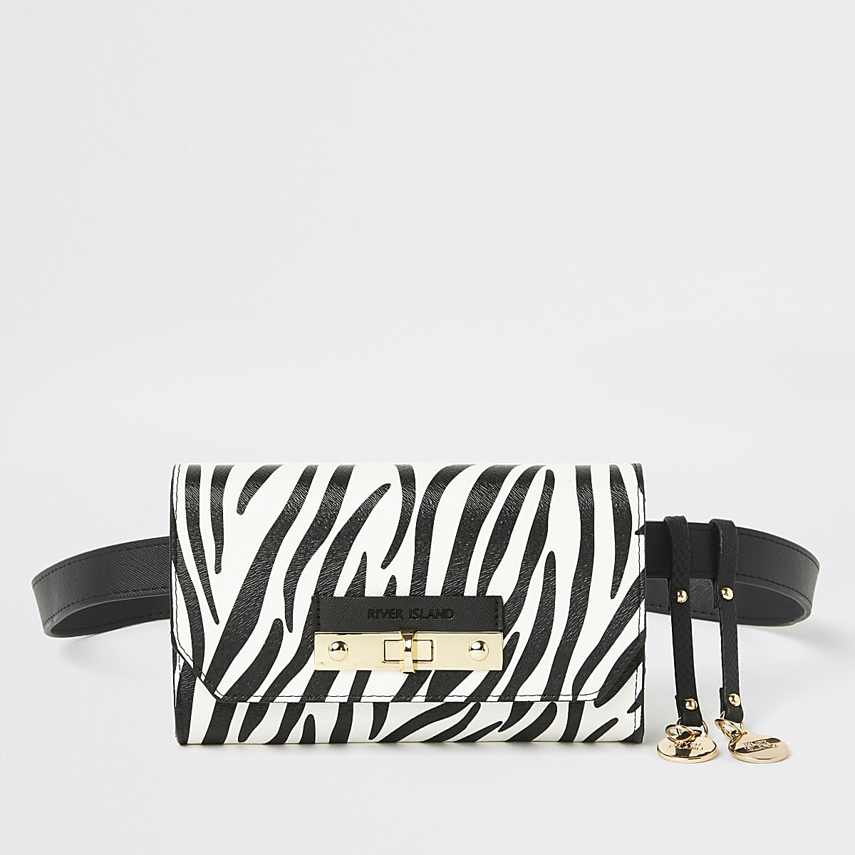 White zebra print lock front belted bum bag
