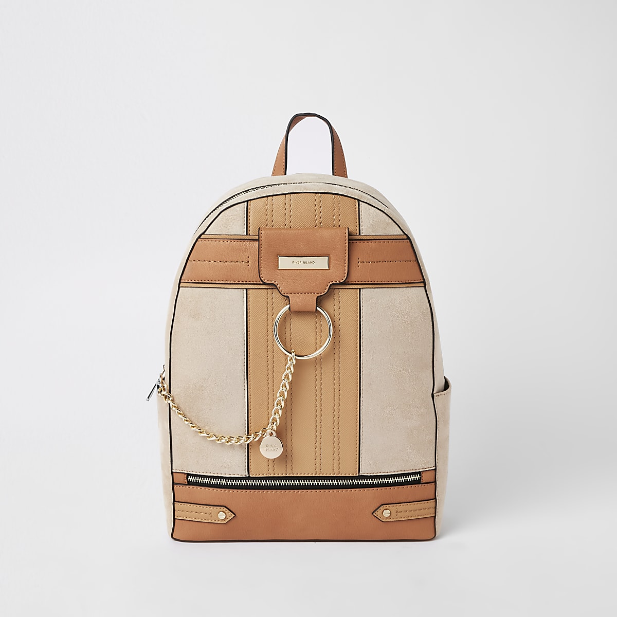 Beige chain front backpack