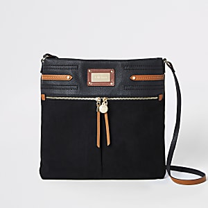 Black contrast trim messenger bag