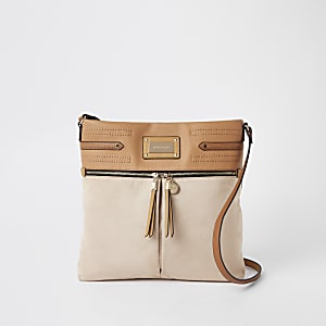 Beige double zip front messenger bag