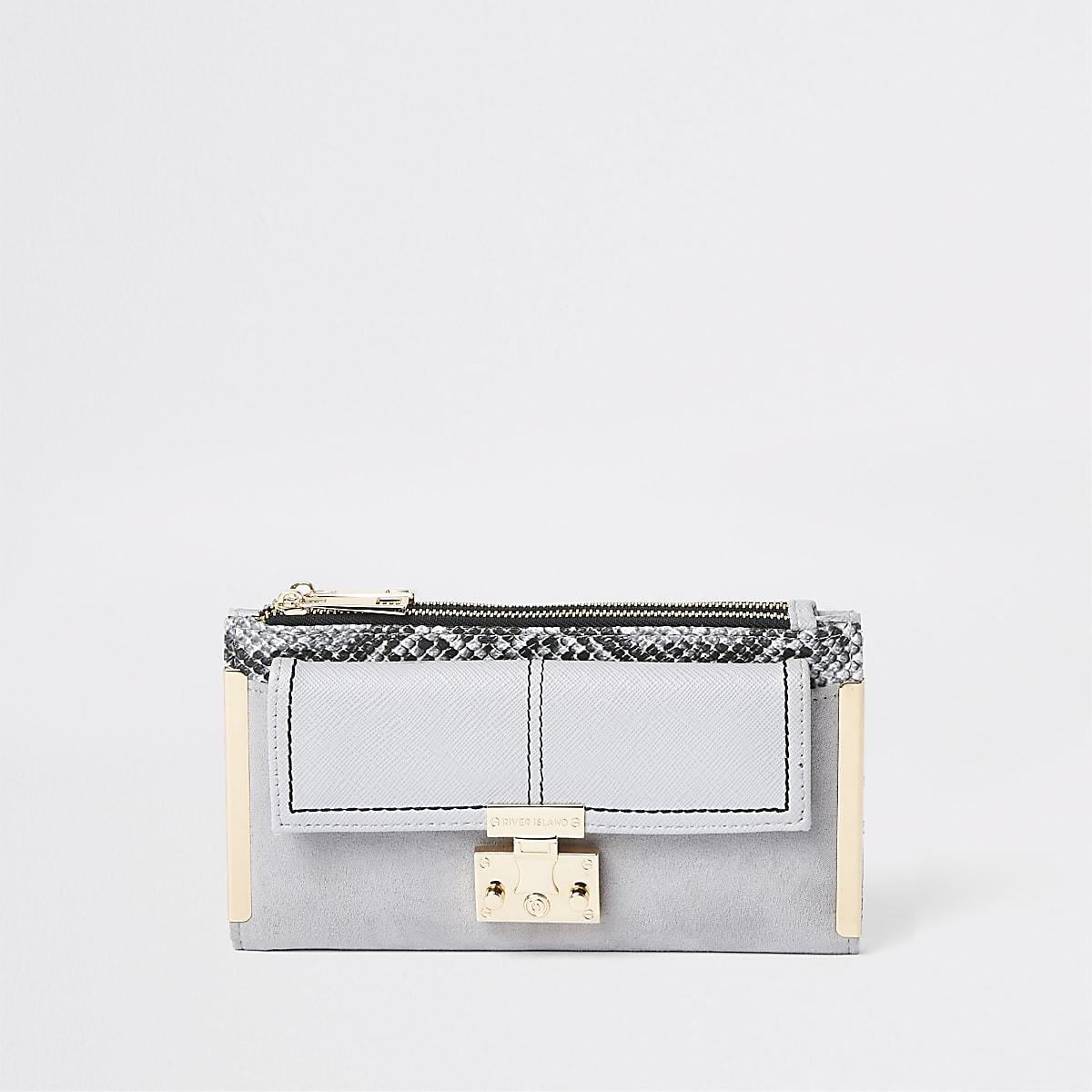 Grijze uitvouwbare portemonnee met slangenprint en sluiting voor