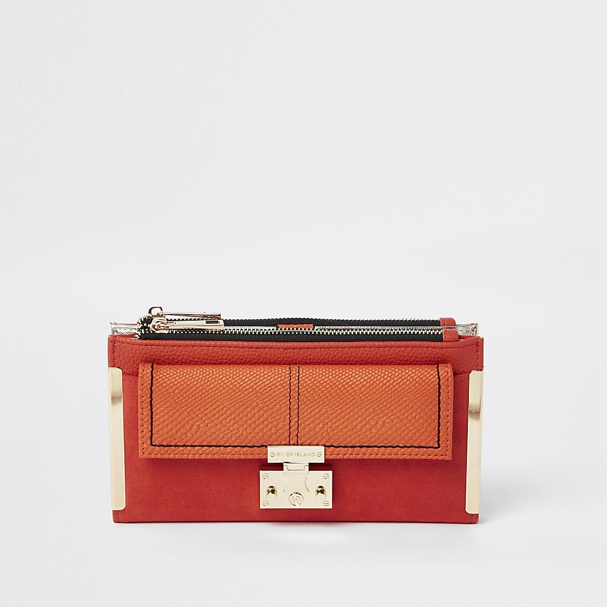 Porte-monnaie orange à rabat et poche à fermoir sur le devant